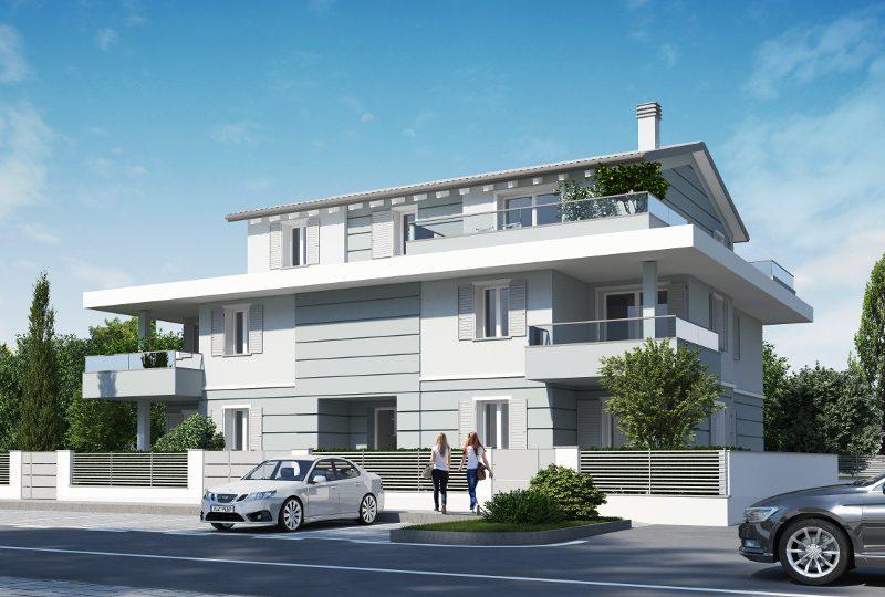 Vista 3D rendering Formigine via San Giacomo Nuova costruzione Classe A4 Casinalbo Maranello Fiorano Sassuolo Modena