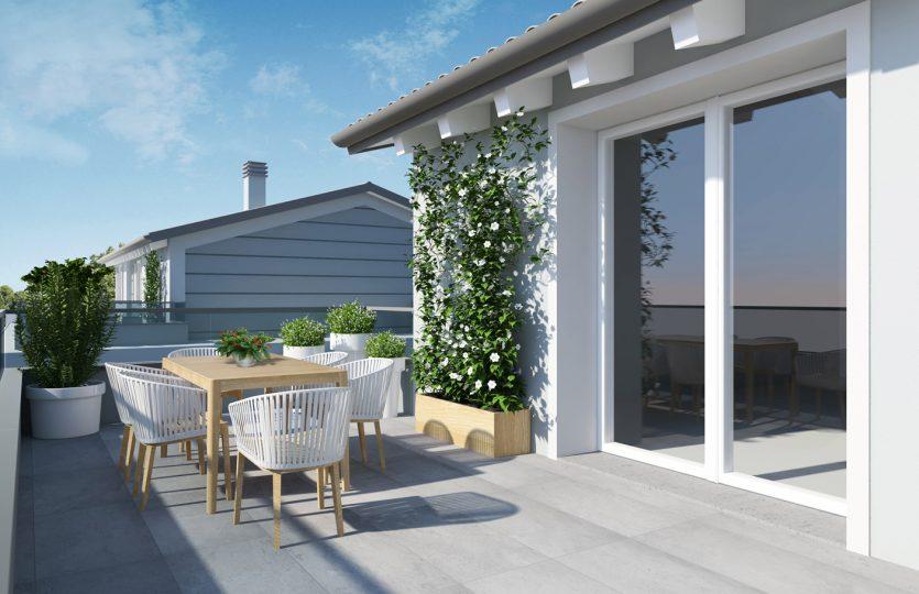 Vista 3D rendering terrazzo attico Formigine via San Giacomo Nuova costruzione Classe A4 Casinalbo Maranello Fiorano Sassuolo Modena