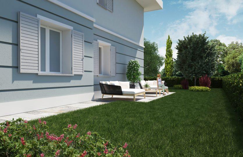 Vista 3D rendering giardino indipendente Formigine via San Giacomo Nuova costruzione Classe A4 Casinalbo Maranello Fiorano Sassuolo Modena