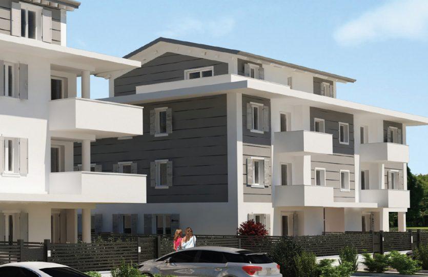 Vista 3D rendering Ubersetto via Monte Ave Nuova costruzione Classe A4 Formigine Casinalbo Maranello Fiorano Sassuolo Modena
